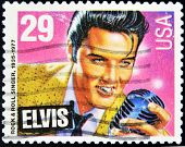 USA - CIRCA 1980 : postage stamp printed in USA showing Elvis Presley circa 1980