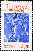 FRANCE - CIRCA 1986: A stamp printed in France shows drawing the face of the statue of liberty