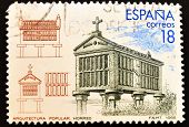 SPAIN - CIRCA 1988: A stamp printed in Spain showing a granary Spanish architecture circa 1988