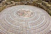 image of ancient civilization  - Ancient mosaics at the Archaeological Helenistic and Roman site at Kato Paphos in Cyprus - JPG