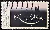 GERMANY - CIRCA 1983: stamp printed in Germany shows signature Franz Kafka circa 1983.