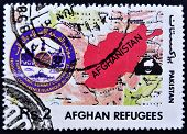 PAKISTAN - CIRCA 1990: A stamp printed in Pakistan dedicated to Afghan refugees circa 1990