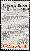 A stamp printed in Republic of South Africa shows newspaper Arikaanse Partiot