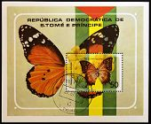 SAO TOME AND PRINCIPE - CIRCA 1979: A stamp printed in Sao Tome shows a butterfly charexes varanes