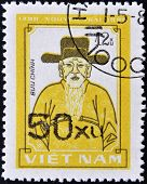 VIETNAM - CIRCA 1980: A stamp printed in Vietnam shows an older man with beard and hat circa 1980