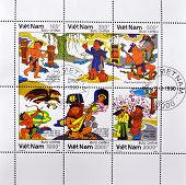 VIETNAM - CIRCA 1990: A stamp printed in Vietnam shows different scenes of Vietnamese life