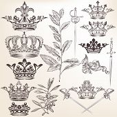 Collection Of Vector Heraldic Crowns And Laurel Leafs