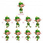 Animation of Dwarf walking. Eight walking frames + 1 static pose. Vector cartoon isolated character/