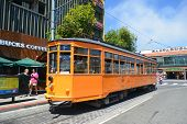 SAN FRANCISCO, CA - AUGUST 16, 2013: Cable Car in San Francisco downtown. Cable cars are oldest mech