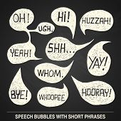 picture of bye  - Hand drawn speech bubble set with short phrases  - JPG
