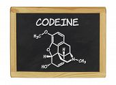 chemical formula of codeine on a blackboard