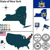 Map Of State New York, Usa