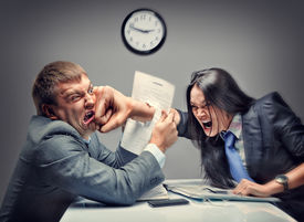 picture of disrespect  - Mad fight of business people - JPG