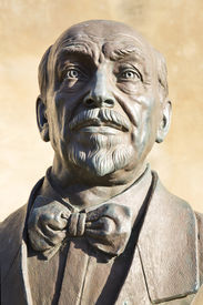 stock photo of luigi  - Bronze statue of Luigi Pirandello - JPG