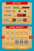 Interface buttons set for games or apps. Vector illustration. Easy to edit. Isolated on blue