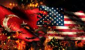 Turkey Usa Flag War Torn Fire International Conflict 3D