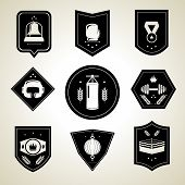 Boxing emblems set black
