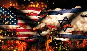 Usa Israel National Flag War Torn Fire International Conflict 3D