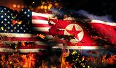 Usa North Korea National Flag War Torn Fire International Conflict 3D