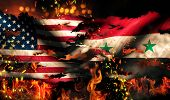 Usa Syria National Flag War Torn Fire International Conflict 3D