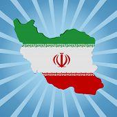 Iran map flag on blue sunburst illustration
