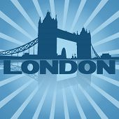 Tower Bridge London reflected with blue sunburst illustration