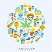 picture of drug addict  - Abuse addictive poison mushroom drugs decorative icons flat set vector illustration - JPG