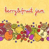 Fruits and berries border horizontal