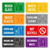 color separated waste labels