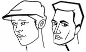 Line art cartooning faces of the man, black and white set of illustrations