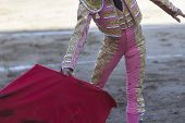 picture of bullfighting  - Bullfighter with the capote or cape Spain - JPG