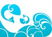 Abstract sea wave and fish shapes design with copy space.