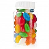 Colored Pills in the plastic transparent bottle  isolation on a white background