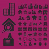 real estate, city, buildings, houses icons, signs set, vector