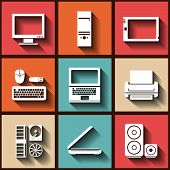 Set Of 9 Flat Icons With Computer Elements. Eps10