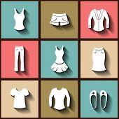 Set Of 9 Flat Icons Of Female Clothing. Eps10