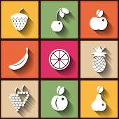 Set Of 9 Flat Icons With Fruits. Eps10