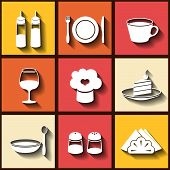 Set Of 9 Flat Icons Of Kitchen Utensils. Eps10
