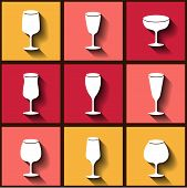 Set Of 9 Flat Icons With Different Wine Glasses. Eps10
