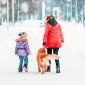 mum with a daughter and their dog walking in winter park