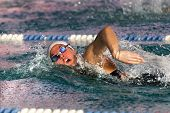A Woman  Swimming Free Style