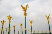 Orderly Golden Swan Lamp On Electricity In Thailand.