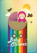 Illustration of cute baby girl. Vector illustration.