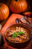 foto of hungarian  - Gourmet hearty goulash soup   - JPG