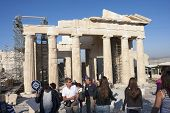 People Sightseeing Temple Of Athena Nike In Athens