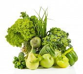 Fresh organic vegetables, isolated on white