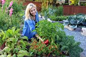Smiling blond woman in the vegetable garden.