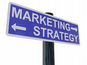 pic of marketing strategy  - A signpost isolated on white with directions to marketing and strategy - JPG