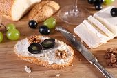 tasty bread with grape and cheese, close up