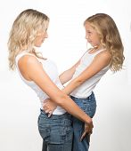 Beautiful blondes, a mother and kid together